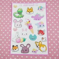 Planche de stickers kawaii